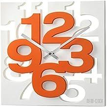 GMMH 3D Moderno Orologio da parete di design 1106Orologio da cucina bagno ufficio orologio decorazione tranquillo (bianco arancione)