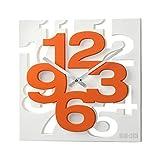 GMMH, Orologio da Parete dal Design Moderno 3D, 1106, Orologio da Cucina, Orologio per Il Bagno, Orologio per L'Ufficio, Decorazione discreta, (Colore Bianco e Arancione)