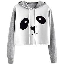VJGOAL Mujeres otoño Moda Casual Dibujos Animados Lindo Panda Imprimir Costura Color sólido Sudadera Blusa de