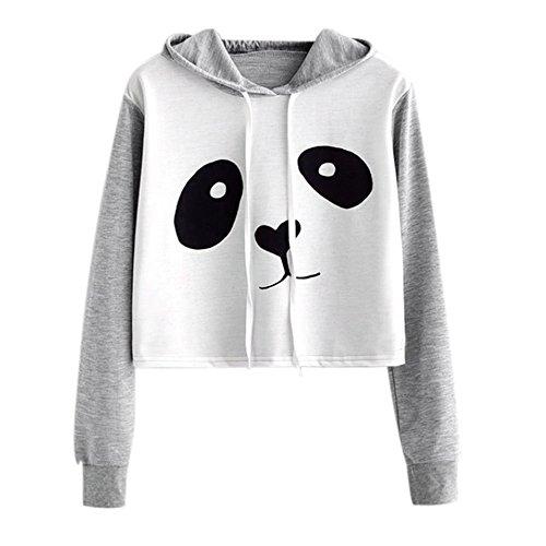 VJGOAL Mujeres otoño Moda Casual Dibujos Animados Lindo Panda Imprimir Costura Color sólido Sudadera...