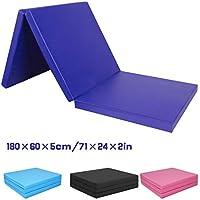 CCLIFE Colchoneta Plegable de Gimnasia y Colchoneta Yoga Colchoneta Deportiva Yoga estrilla 3 Pliegues 180/60/5cm, Color:Azul