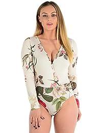 2aa0fe982368 Red Olives® Womens Ladies Plunge V-Neck Wrap Over Leaf Floral Print Bodysuit  Leotard
