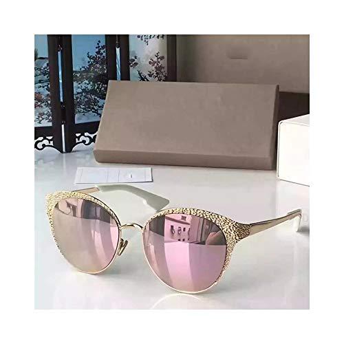 FORTINGBAR Damenmode Oval Frame Metall Sonnenbrille, polarisierte Linse Material: Harz + Metall (Farbe : Sakura pink)