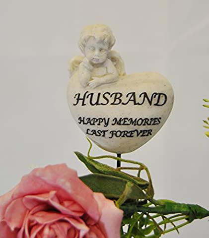 Husband Happy Memories Last Forever Memorial Cherub heart on a stick - Ideal for in plant pot , flower arrangement or grave