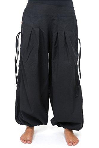 Pantaloni fantasy aladin-ethnic misto cotone spesso, colore: nero Nero