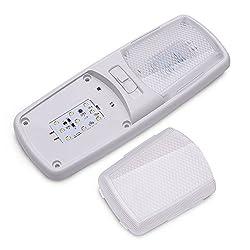 MICTUNING 3200K Dual LED RV Dachlampe Fahrzeuge Innen Deckenlampe 12V Auto Licht Kit Leselicht Deckenlampe für RV Camper Trailer und mehr (1 Stück)