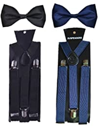 WHOLESOME DEAL unisex red and black stretchable suspender with bow combo(susbw001) (Navy Blue And Black)