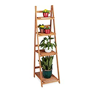 Relaxdays Blumentreppe aus Holz, Blumenständer für innen, 4-stufig, Leiterregal, Klappbar, HBT: ca. 161 x 41 x 50 cm, braun