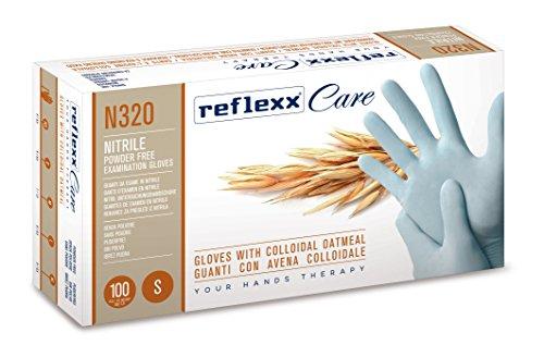 guanti nitrile m Reflexx N320/M Guanti Monouso in Nitrile con Avena Colloidale