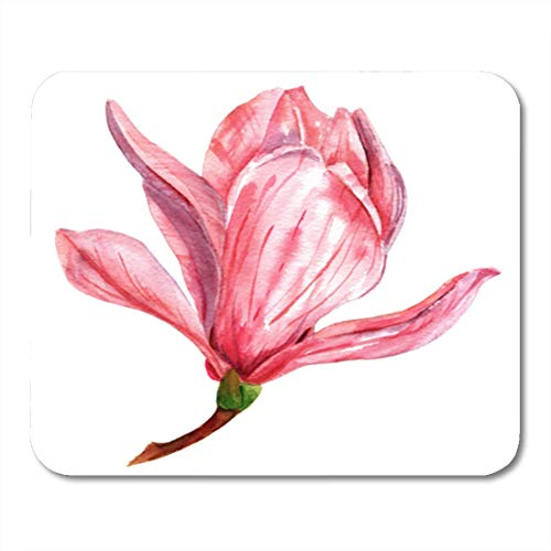 HOTNING Gaming Mauspad Botanical Watercolor Drawing of Tender Pink Magnolia Flower Vintage Hand 11.8