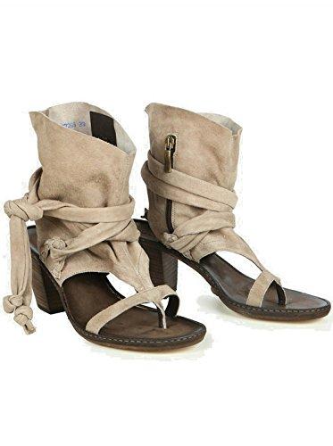 JANET & JANET Damen Schuhe Sandalen Sandaletten - Leinen - braun tortora 40