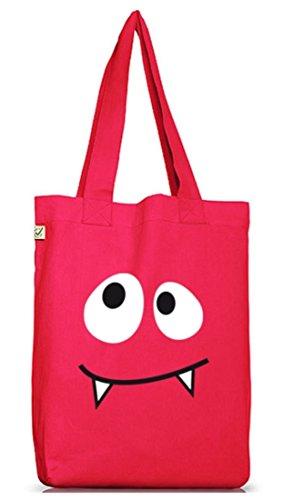 Pink Kostüm Monster Mädchen - Shirtstreet24, MONSTER VAMPIRE, Karneval Fasching Kostüm Jutebeutel Stoff Tasche Earth Positive, Größe: onesize,Hot Pink
