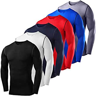 PowerLayer Men's Compression Baselayer Top Long Sleeve Under Shirt - Crew Neck 6