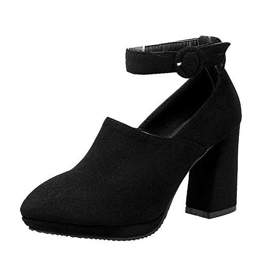 Mee Shoes Damen chunky heels Ankle strap Nubukleder Pumps Schwarz