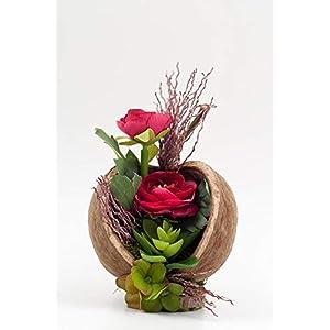 Kleines rustikales Tischgesteck mit Ranunkeln,Dattelzweig,Sukkulente,Hortensien+Budha Nut-Tischdeko mit künstl.Blumen+Pflanze