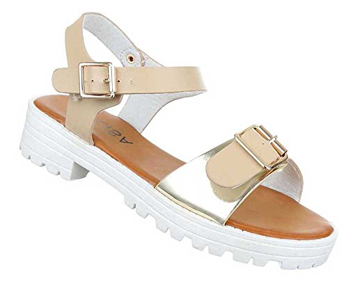 Damen Sandalen Schuhe Sandaletten Schwarz Gold Beige