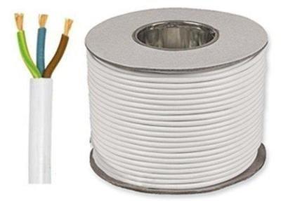 Bianco 3183Y 3core 0.75mm Lunghezza cavo flessibile in PVC Taglio 6Amp per Flex