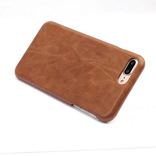 EKINHUI Case Cover Retro frosted Art-erstklassiger echtes Leder-rückseitige Abdeckungs-Fall für IPhone 7 und 8 ( Color : Gray ) Brown