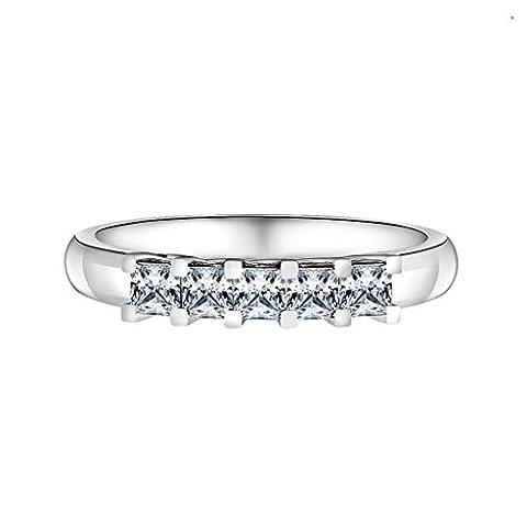 AMDXD Schmuck 925 Sterlingsilber Damen Maßgeschneidert Ringe (mit Gratis Gravur) Streifen 5 Verbindung CZ Größe 58 (18.5)