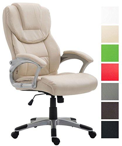 CLP Bürostuhl XL Texas V2 mit Kunstlederbezug l Drehstuhl mit Armlehnen l Chefsessel mit Wippmechanismus l Max. belastbar bis 180 kg l Creme