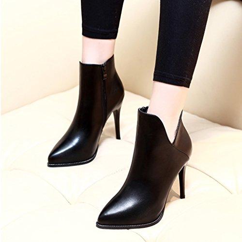 ALUK- Autunno e inverno - stivali dal tacco alto con stivali sottili di moda ( Colore : Nero , dimensioni : 36-foot length 230cm ) Nero
