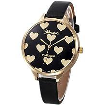 Relojes Mujer,Xinan Reloj de Pulsera Analógico de Cuarzo Cuero Imitación (Negro)