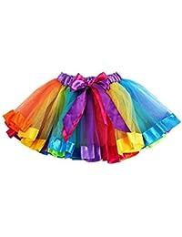 Red Star Girls Rainbow Tutu Skirt Petticoat multicolour Dress Kids Ballet Princess Dance