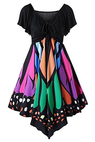 Plus Size Gemijacka Damen Schmetterling Druck Kordelzug Kurzarm Empire-Taille V-Ausschnitt Kleid