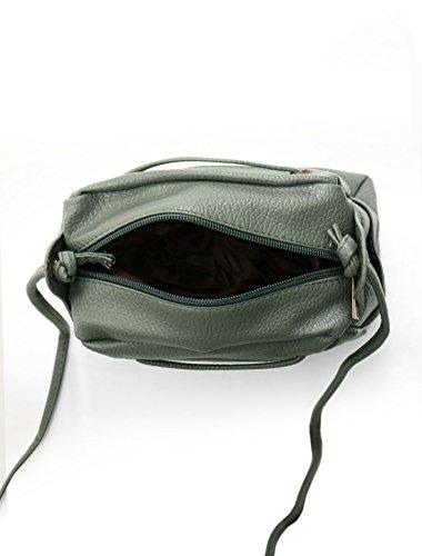 sourcingmap® Damen Reißverschluss dekoratives Vorner Streifen PU Kreuzkörper Tasche schwarz Gray
