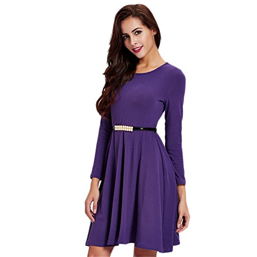 JOTHIN Damen Rundausschnitt Langarm Kleid Aline Einfarbige Minikleid  Knielang Lila