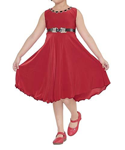YAYAVAR Girl's Crepe Silk Wear Western Frock 5-6 Years, 26 (Red, YVR0007C) - Set of 1
