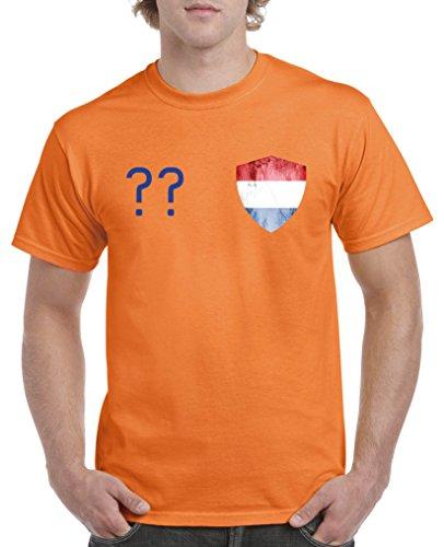 Fanshirt T-Shirt zur WM mit Wunschname und Nummer Niederlande Holland Nederland
