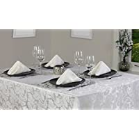 Cadiz Damask Effect Glacier (Off White/Cream) 69in (175cm)Tablecloth And 4 Napkin Package Set. Round (Circular) Tablecloth. Ideal For Christmas . Ideal For 4-6 Place Settings. All Sizes Approximate