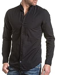 BLZ jeans - Chemise homme noire unie col mao