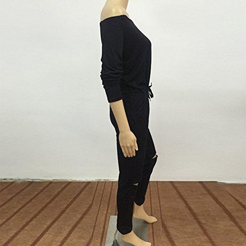 La Cabina Femme Sexy Combinaison Longue Épaule Nue Genoux Troué pour Soirée Cocktail Sexuelle Noir