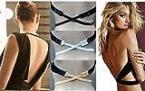 Ammiy® BH-Verlängerung für rückenfreie Kleider, Shirts, Blusen, Tops - Schwarz, Weiß, Beige (3 Stück)