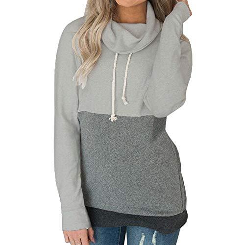 MYMYG Damen Kontrastfarbe Pulli Pullover Rollkragen Sweatshirt Kapuzenpulli Top Hoodies(A3-Grau,EU:40/CN-XL)