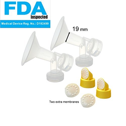 19 mm One-Piece Breastshield w/ Valve, Membrane for Medela Breast Pumps (Pump...