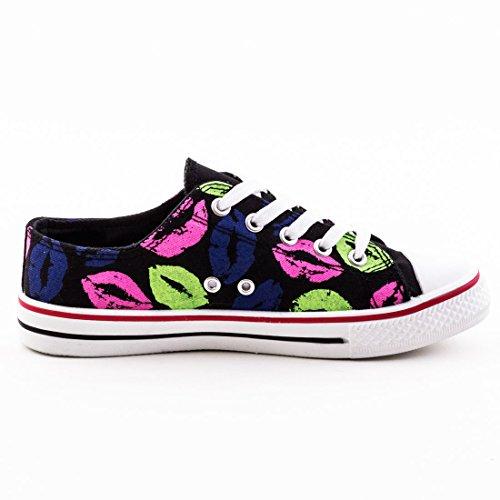 Damen Sneaker Low Top Schuhe Canvas Textil Schwarz Mit Print