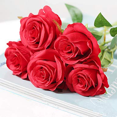 Xqi wangpu Künstliche Blumen 5 Zweig, der europäische Art-Rosen-Tischplatte-Blume, rot Wedding ist (Rote Der Mittelstücke Wedding)