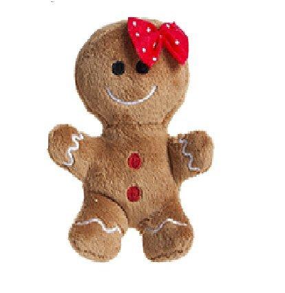 10cm Plüsch Lebkuchen Mann weichen Spielzeug mit roten Schleife - Weihnachten weichen Spielzeug - Weihnachtsschmuck