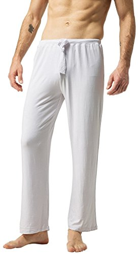 ZSHOW Herren Baumwoll Yoga Hose Lange Schlaf Hosen Weiche Strick Pyjama(Weiß, Small (Schlaf-hose Grüne Herren)
