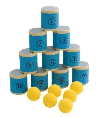 Betzold 36220 Dosen-Wurfspiel mit bällen, mehrfarbig, 10-teilig