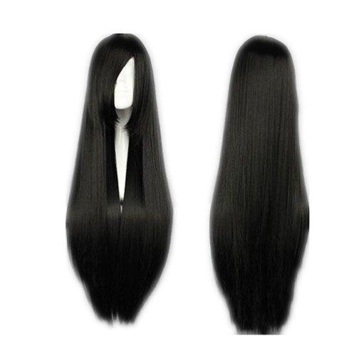 COSPLAZA Cosplay Wigs Kostueme Peruecke lang gerade Anime Show Fasching Karneval Haar 80cm Schwarz - Anime Langes Haar Perücke