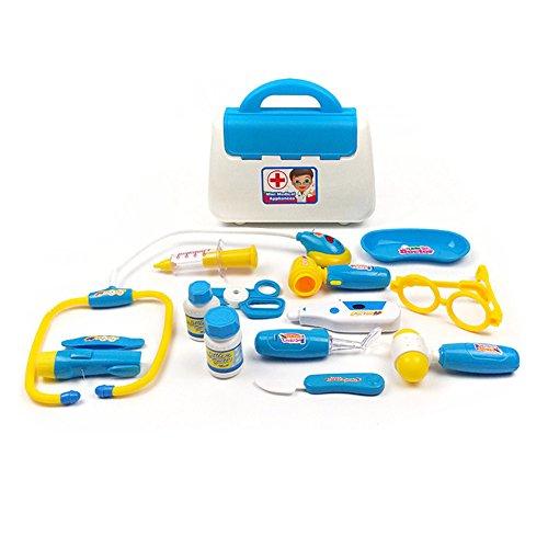 Kit médecin semblant jouer 15pcs jouets médicaux ensemble avec simulation thermomètre médecine boîte stéthoscope injections garçon fille cadeau