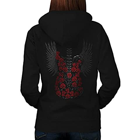 Gothic Rose Guitar Women XXL Hoodie Back |