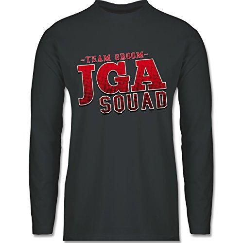 Shirtracer JGA Junggesellenabschied - JGA Squad Team Groom - Herren Langarmshirt Dunkelgrau