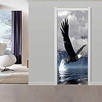 asfrata265 Creative Decals 3D Eagle Animal Door Sticker Diy Mural For Living Room Bedroom Home Decor Poster Pvc Self Adhesive Waterproof 95X215Cm