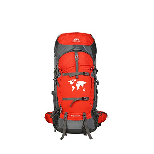 Im Freienbergsteigen-Beutel-Schulter-männliche große Kapazitäts-weiblicher Berufsreise-Rucksack 60L Spitzenlager kann Taschen-Seitentaschen tun kann direkt zum Hauptlager-elastischen Gewebe-Rot sein