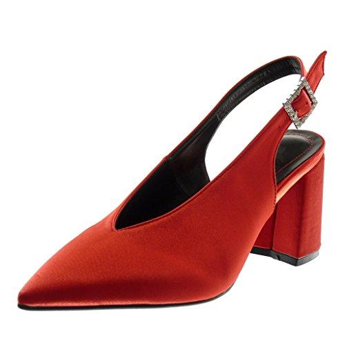 Rosso Fibbia Tallone Retro Aperta Scollo Modo Donna Rhinestone Scarpa Diamante 5 Blocco Di Cm Angkorly 8 8qFwvZx